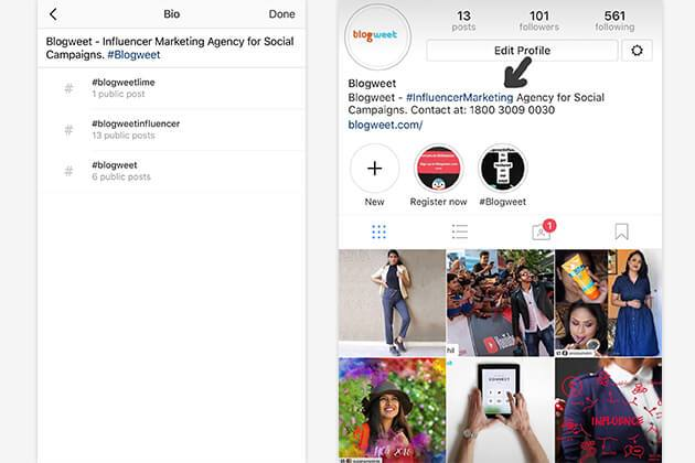 Instagram Now Lets You Link to Hashtags and Other Profiles in Your Bio